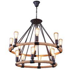 LNC Vintage 14 Light Metal Hemp Rope Flush Mounted Ceiling Lights Fixture Matte Black Double-Deck Chandelier