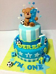 Professional Birthday Cake by Oven Creations Latest Birthday Cake, Toddler Birthday Cakes, Boys First Birthday Cake, Birthday Cupcakes, Birthday Ideas, Cake Designs For Boy, Rodjendanske Torte, Teddy Bear Cakes, Teddy Bears