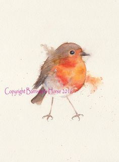 ROBIN, Little Bird, fine art, Giclee Watercolour Painting Print A4. Archival quality inks