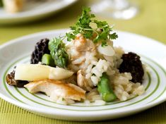risotto met asperges, morieljes en kipfilet