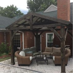I really love this delightful photo Backyard Pavilion, Outdoor Pergola, Backyard Pergola, Outdoor Rooms, Backyard Landscaping, Deck Gazebo, Outdoor Stuff, Covered Patio Plans, Covered Back Patio