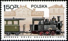Sello: Marki Train and Warsaw Stalow Station, 1907 (Polonia) (Locomotives in Poland) Mi:PL 2400 Rail Transport, First Day Covers, Vintage Stamps, Steam Engine, Stamp Collecting, Warsaw, Countries Of The World, Locomotive, Vintage Posters