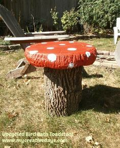 Old Bird Bath Becomes Whimsical Toadstool Table For The Fire Pit.