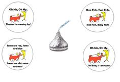 Dr. Seuss Themed Baby Shower Hershey's Kisses Stickers; One Fish Two Fish; Dr. Seuss Kisses labels; Unisex baby shower favors; favor decor by SimplyCreatedForYou6 on Etsy