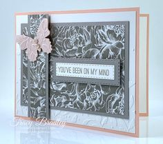 I have a free PDF Tutorial for this card on my blog.  The card features Stampin' Up! Peony Garden Designer Series Paper. Created by Tracy Bradley, Independent Stampin; Up! Demonstrator  www.stampingwithtracy.com Peonies Garden, Paper Pumpkin, Card Tags, Paper Crafting, Peony, Handmade Cards, Stamping, Card Stock, Butterflies