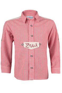 Trachtenhemd rot-weiß kariert  Bua  - Trachtenhemden Buben Kinder 355a59d0e6