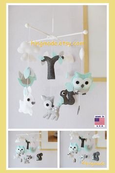 Woodland Mobile, Baby Mobile, Owls & Birds Mobile, Owl Squirrel Deer Bird Bunny, White Grey Turquoise , Custom Mobile by hingmade on Etsy https://www.etsy.com/listing/153076501/woodland-mobile-baby-mobile-owls-birds