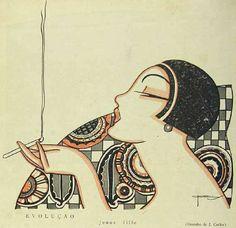 J.Carlos. 1925. José Carlos de Brito e Cunha, connu comme J Carlos (1884 - 1950) dessinateur, illustrateur et graphiste brésilien considéré comme l'un des plus grands représentants du style art déco en design graphique brésilien.