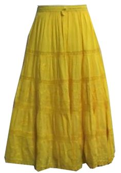 Women Clothing A-Line Long Cotton Skirt Yellow Modest Fashion Beach Wear Skirt #Handmade #ALine