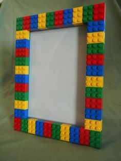 Picture Frames made using LEGO® elements This LEGO®️️ picture frame is perfect to show off the personality of anyone who loves Lego and having fun! Alternatively, the frame could be used for as a small dry erase board. The frame will hold a ph Picture Frame Crafts, Picture Frames, Big Picture, Diy For Kids, Crafts For Kids, Diy Crafts, Kids Fun, Deco Lego, Cadre Photo Diy