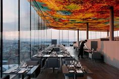 An installation by Swiss artist Pipilotti Rist graces the ceiling of Das Loft, the restaurant in the Jean Nouvel–designed Sofitel Vienna Stephansdom hotel. Design Hotel, Restaurant Design, Restaurant Bar, Restaurant Interiors, Jean Nouvel, Das Hotel, Hotel S, Hotel Deals, Travel Tips
