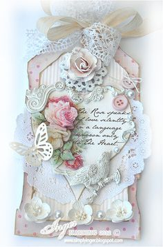 Inger Harding designed handmade shabby chic / vintage tag card, easily translated into a greetings card or wedding wishes card for a tree - this has to be one of the mose pretty, delicious feasts for the eyes ! Shabby Chic Christmas, Christmas Tag, Card Tags, Gift Tags, Shabby Chic Cards, Handmade Tags, Paper Tags, Artist Trading Cards, Vintage Tags