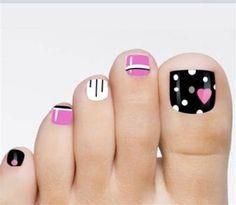 Toenail Art Designs, Pedicure Designs, Pedicure Nail Art, Toe Nail Art, Black Pedicure, Nail Nail, Pink Nails, Glitter Nails, Black Glitter
