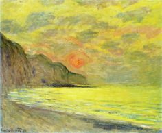 Sunset, Foggy Weather, Pourville by Claude Monet in 1882