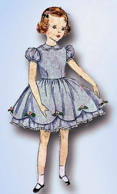 1950s Vintage Simplicity Sewing Pattern 3868 Toddler Girls Party Dress Size 1