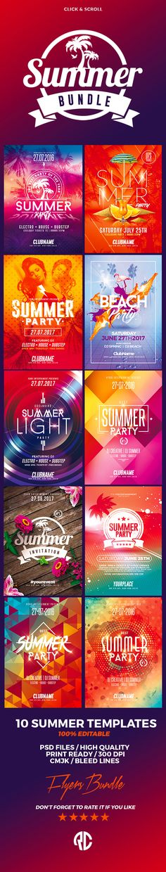 Exclusive Bundle ! Perfect to promote your Summer Party ! This Flyer Bundle include 10 flyer templates for only $14 #creativemarket #flyers #summer #party #templates