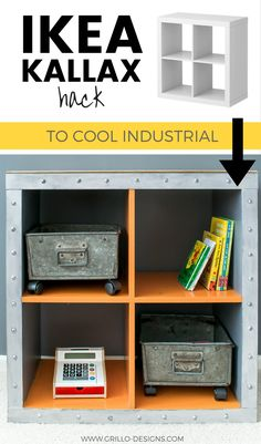 Kids DIY IKEA KALLAX hack - Learn how to transform the standard IKEA KALLAZ/EXPEDIT into a trendy industrial style storage cube for a boys bedroom