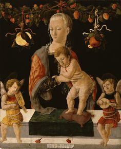 Giorgio Schiavone, (1459-1460) ~ Madonna col Bambino e due angeli musicanti ~ Olio su Tavola ~ Walters Art Museum, Baltimora.