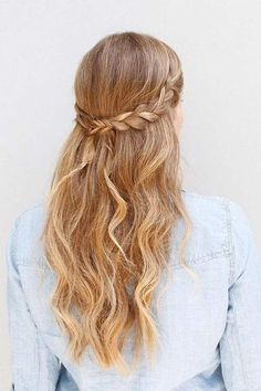 Coupe cheveux long : Half-Up Braided Hairstyle   Homecoming Dance Hairstyles Inspiration Perfect For