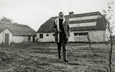 Danish artist Asger Jorn (1914-1973) outside his studio on the small island Læsø, Denmark