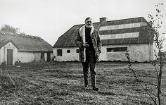 Danish artist Asger Jorn (1914-1973) outside his studio on the small island Læsø, Denmark