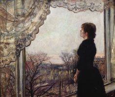 Oda Krohg by the Window - Christian Krohg (1852 - 1925)