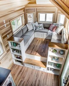 """Clover"" Tiny House on Wheels by Modern Tiny Living Tiny House Movement // Tiny Living // Tiny House on Wheels // Tiny House Living Room // Tiny Home Storage // Tiny Home // Architecture // Home Decor Best Tiny House, Modern Tiny House, Tiny House Cabin, Tiny House Living, Tiny House Plans, Tiny House On Wheels, Tiny Houses For Sale, Cottage Living, Small Living Room Furniture"