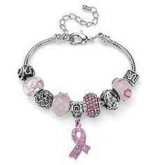 Breast Cancer Awareness Pink Charm Bracelet