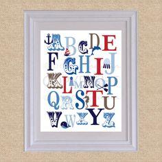 ABC Typography Art Print Ocean Nautical RWB  8x10  by PaperRamma, $20.00