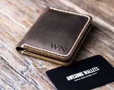 Wallet Leather Wallet Personalized Leather Wallet Front di JooJoobs   Etsy