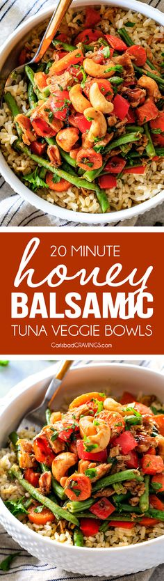 20 Minute Honey Balsamic Tuna Veggie Bowls with Cashews - I was shocked at how much I loved these. They are SO quick and easy, HEALTHY, flavor and texture packed, and I love the light honey balsamic sauce! I am stocking up on tuna so I can make these any time!
