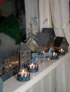 Brilliant Christmas Decoration Ideas For Small House 52 Christmas Scenery, Christmas Villages, Christmas Nativity, Noel Christmas, Rustic Christmas, Galvanized Decor, Tin House, Putz Houses, Christmas Wonderland