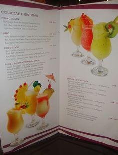 carta e bebidas da MSC Cruzeiros