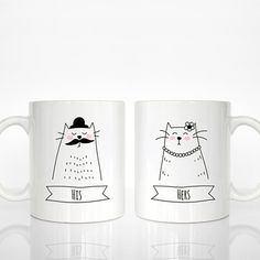 Hey, I found this really awesome Etsy listing at https://www.etsy.com/listing/238256217/set-of-2-his-and-hers-mugs-cat-couple