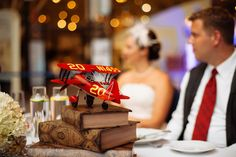 aviation/travel themed head table decorations