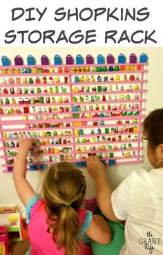 How to make your own DIY Shopkins Storage Rack! Easy step by step tutorial for y. How to make your own DIY Shopkins Storage Rack! Easy step by step tutorial for your Shopkins obsess Fete Shopkins, Shopkins Room, Shopkins Bday, Toy Storage, Storage Rack, Make Your Own, Make It Yourself, How To Make, Party Fiesta