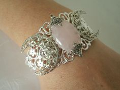 Rose Quartz Triple Moon Goddess Cuff Bracelet wiccan jewelry pagan jewelry wicca jewelry goddess jewelry witchcraft witch wiccan bracelet by Sheekydoodle on Etsy