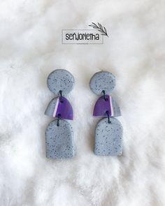 Polymer Clay Earrings, Granite, Crochet Earrings, Purple, Instagram Posts, Jewelry, Ideas, Jewlery, Jewerly