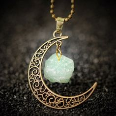 Vintage Moon Necklace with Irregular Natural Stone