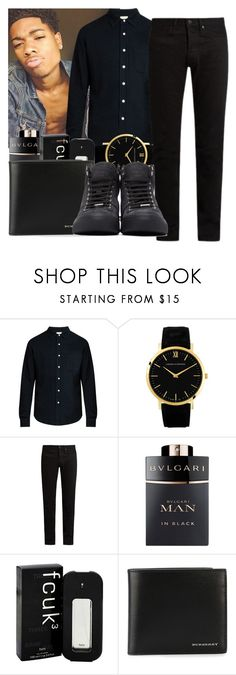 """man in black "" by eirinimaria ❤ liked on Polyvore featuring Simon Miller, Larsson & Jennings, KURO, Bulgari, French Connection, Burberry, Jimmy Choo, men's fashion and menswear"
