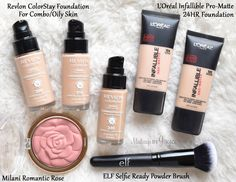 Revlon ColorStay Makeup for Combination/Oily Skin in Golden Beige 300, Warm Golden 310 & Natural Tan 330 (each retails $12.99 for 1oz/30ml), L'oreal Infallible Pro-Matte 24HR Foundation in Golden Beige 104 & Natural Beige 105 (each retails $12.99 for 1oz/30ml), Milani Romantic Rose Powder Blush ($7.99 for 17g/0.60oz) and ELF Selfie Ready Powder Brush ($6)