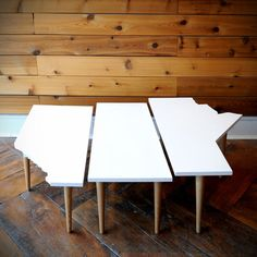 Prairie Coffee Table set from Gus Modern. We lived in Manitoba, then we left the Prairies, but we're now moving to Alberta, so we love these. Sadly the dimensions just don't work for our space.