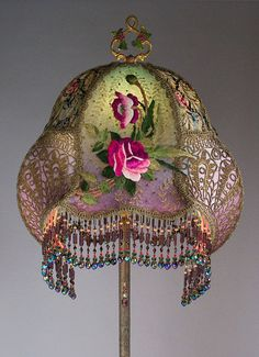 Art Nouveau Floor Lamp with Gold Metallic Lace and Antique Rose Embroidery by Nightshades Victorian Floor Lamps, Victorian Decor, Victorian Interiors, Lampe Decoration, Table Lamp Shades, Rose Embroidery, Antique Lamps, Chandeliers, Interior Design