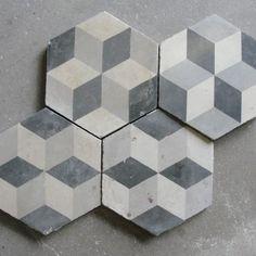 Cement tile flooring.