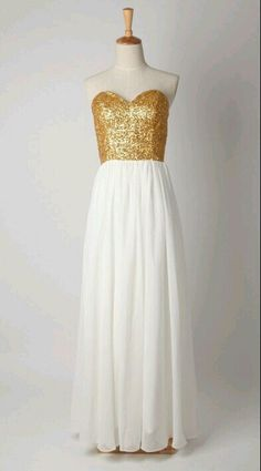 This is pretty much my wedding dress. With white sequins instead of gold. | Gold sequin bridesmaid dress