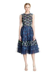 Floral-Embroidered Organza & Corded Lace Dress