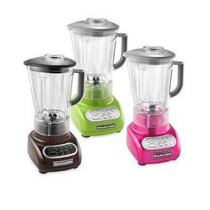 These sleek and colorful blenders from KitchenAid® feature five speed settings plus Pulse Mode and a Crush Ice features to handle an array of blending tasks. Comes complete with a one-piece, 56-oz. shatter-resistant and BPA free polycarbonate pitcher.
