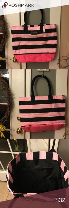 NWT, Victoria Secret Tote.Priced to sell no offers Brand new pink and black striped Tote with tags attached , great for a purse or an overnight trip bag. Measures about 16 in length and 20inches across bag, handle is about a 12 inch drop. Depth of bag about 16 inches. 100% authentic. This is the price no offers accepted!! Victoria's Secret Bags Totes