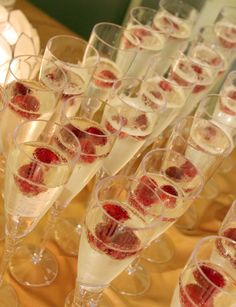 masquerade party- Champagne w/ strawberries in them for that elegant look!