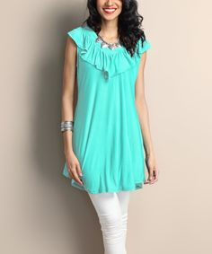 Another great find on #zulily! Turquoise Ruffle V-Neck Tunic by Reborn Collection #zulilyfinds